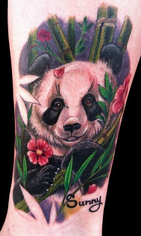 Tattoos - Panda Memorial on Ankle - 105057