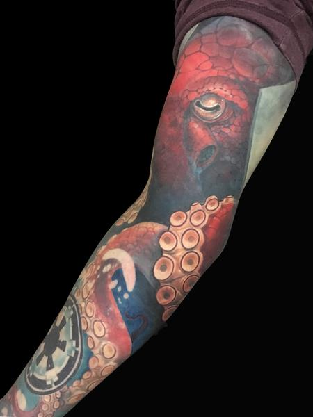 Tattoos - Red Octopus Tentacles Star Wars Empire Imperial Cog Sleeve - 130555