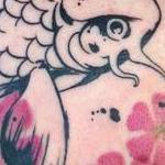Pen and Ink Style Koi with Watercolor Cherry Blossoms Tattoo Design Thumbnail