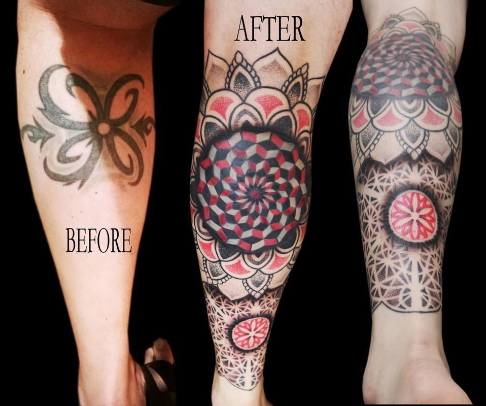 linework dotwork colour fractal mandala cover up leg sleeve mandalas ...