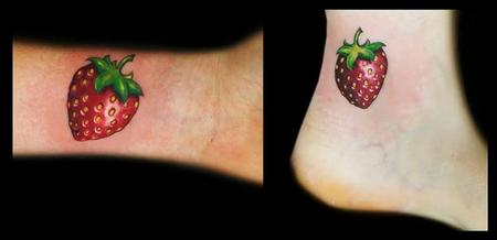 Tattoos - realistic color strawberry tattoos  - 109170