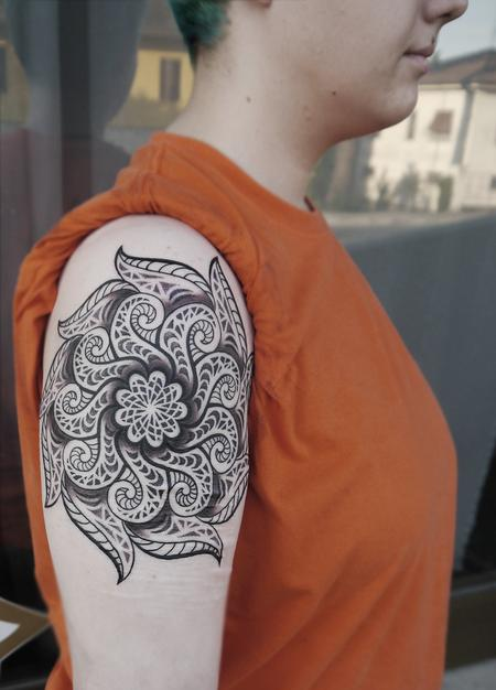 dotwork linework mandala tattoo  done on the 3rd day at Off the Map, Cervignano del Fruili , Italy Design Thumbnail