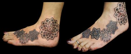 Tattoos - dotwork linework mandala foot tattoo  - 108622