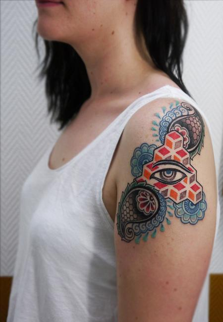 Obi - color dotwork linework bongo style paisley tattoo design with buddha eye