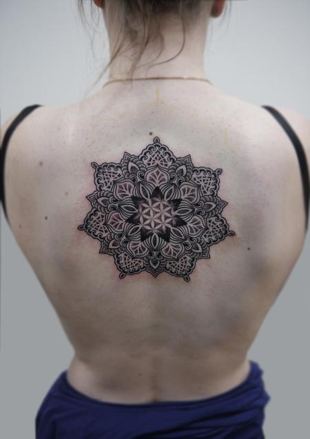 Tattoos - dotwork linework traditional indian style mandala with flower of life - 125803