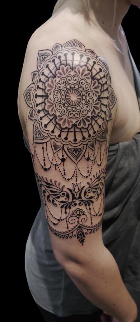 Tattoos - dotwork linework ornamental bongo style half sleeve tattoo - 120035