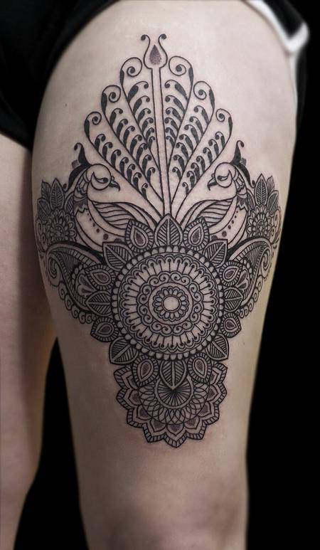 linework dotwork traditional indian style bongo style custom peacock mandala tattoo Design Thumbnail