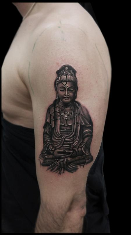 Tattoos - black and grey realistic broken sculpture buddha tattoo  - 119727