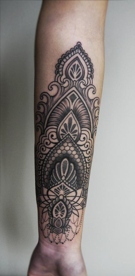 dotwork linework indian traditional ornamental tattoo on the forearm Design Thumbnail