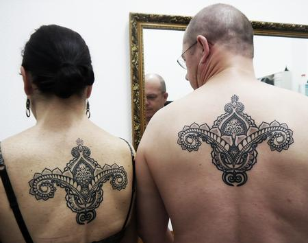 Tattoos - couple tattoo in bongo style indian traditional dotwork linework tattoo - 125805