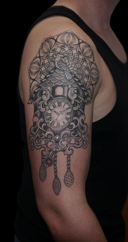 black and grey dotwork mandala black forest cuckoo clock Tattoo Design