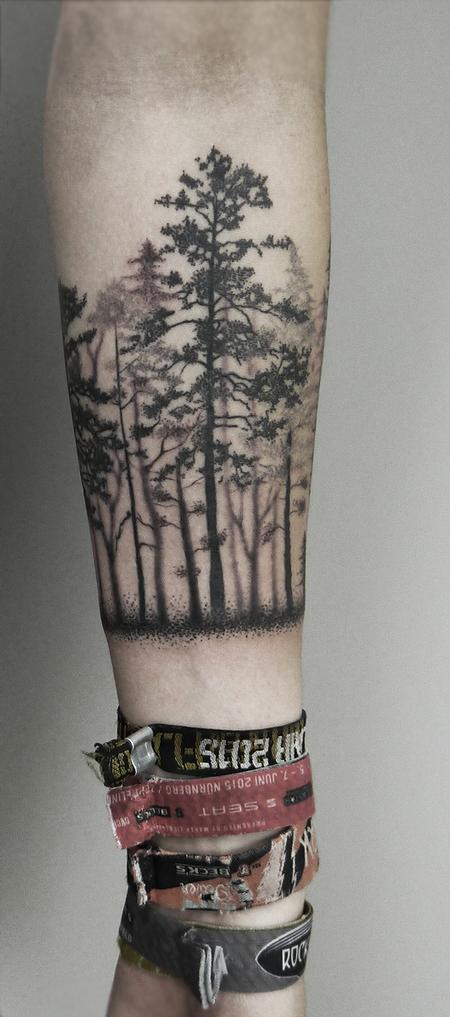 Tattoos - dotwork black forest canopy forearm tattoo - 125806