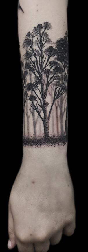 dotwork black forest canopy forearm tattoo Design Thumbnail