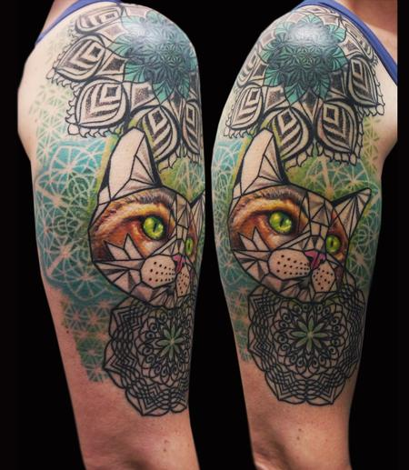 Tattoos - geometric cat mandala tattoo - 116933