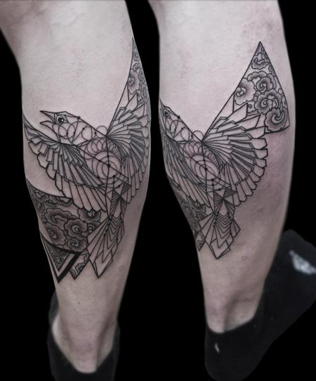 Tattoos - fineline dotwork geometric bird tattoo - 125821