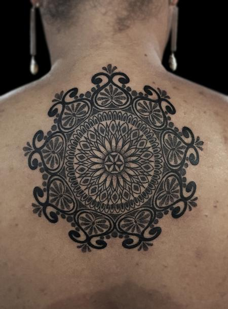 Tattoos - dotwork linework custom bongo style, indian traditional  style mandala  - 117403
