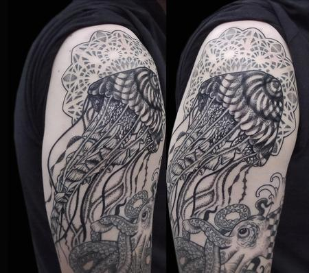 Tattoos - jellyfish in dotwork geometrical realistic oriental underwater half sleeve in progress - 117953