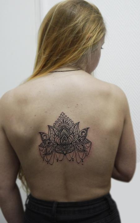 Tattoos - dotwork linework ornamnetal lotus tattoo in bongo style - 116934