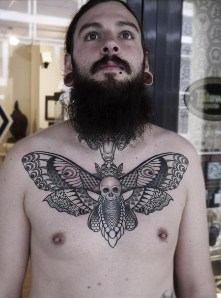 Tattoos - dotwork linework geometric  death head moth tattoo - 125802