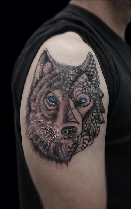 Tattoos - linework dotwork semi realistic black and grey abstract wolf tattoo - 117874