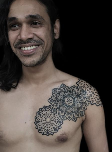 Obi - dotwork indian traditional mandala chest pattern tattoo