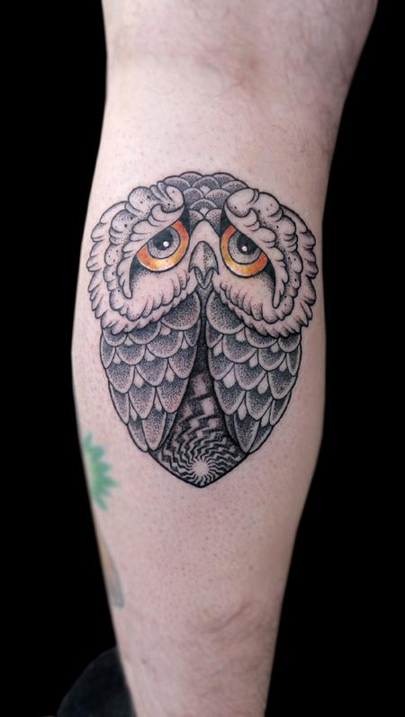 dotwork custom made sad owl tattoo Design Thumbnail