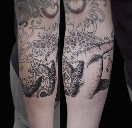 Obi - dotwork linework geometric hammerhead shark tattoo