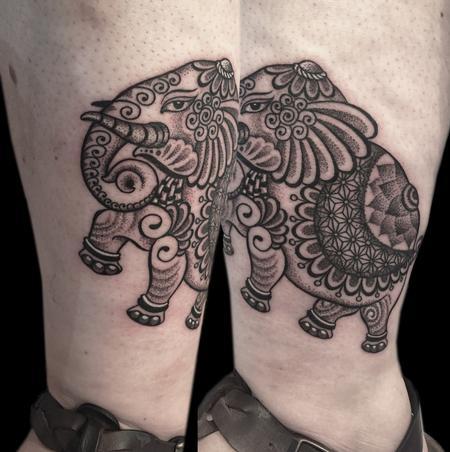 Tattoos - dotwork linework custom bongo style indian traditional elephant tattoo - 117404