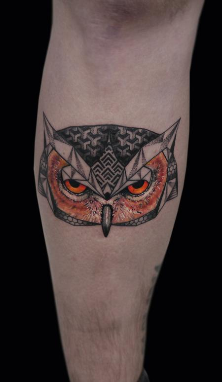 linework dotwork semi realistic color abstract owl tattoo custom style  Design Thumbnail
