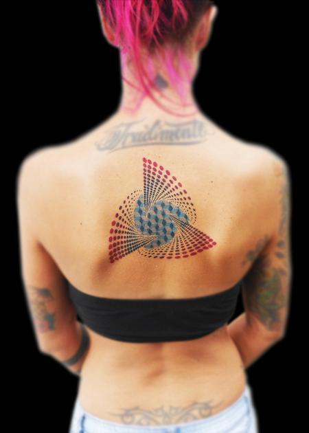 Tattoos - dotwork jalftone trihelix geometrical mandala  - 117952
