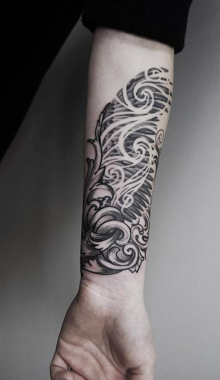 Tattoos - black and grey filigree wings  - 125822