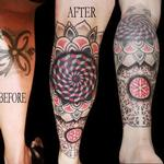 linework dotwork colour fractal mandala cover up leg sleeve mandalas Tattoo Design Thumbnail