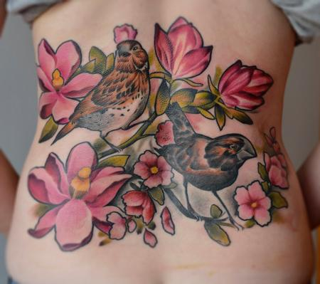 Tattoos - Floral Back Tattoo with Two Birds - 109735