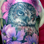 Owl & Flowers Tattoo Design Thumbnail