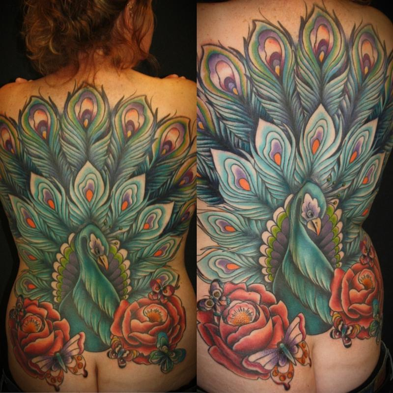 Peacock back piece by rebecca smith beccadoodletattoos for Peacock tattoo on back