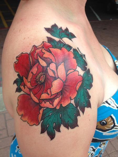 Tattoos - Peony tattoo  - 122235