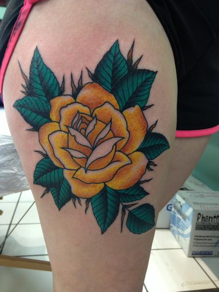 Yellow rose of texas by rebecca smith beccadoodletattoos for Tattoo shops in san marcos tx