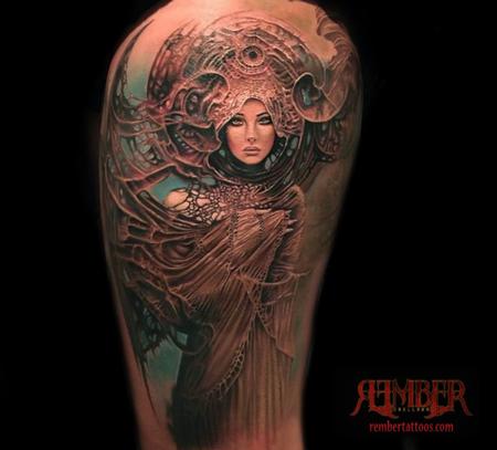 Rember, Dark Age Tattoo Studio - Art Nouveau Portrait