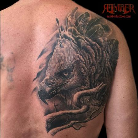 Tattoos - Black and Grey Realism Harpy Eagle - 109069