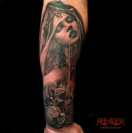 veiled woman Tattoo Design Thumbnail
