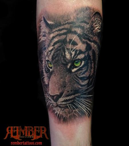 Black and Grey Realism Tiger Tattoo Design Thumbnail