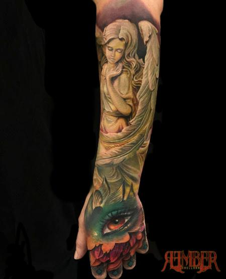 Color hand and forearm Quarter sleeve Tattoo Design