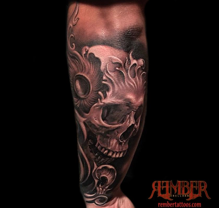 Rember, Dark Age Tattoo Studio - Black and Grey, Realism Skull
