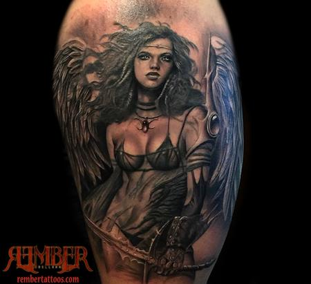 Black and Grey Realism Angel Tattoo Design