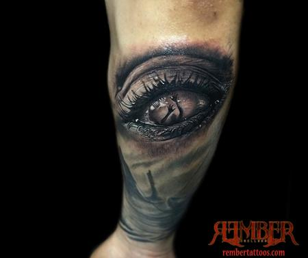 Hyperrealism Eye done in black and grey   Design Thumbnail