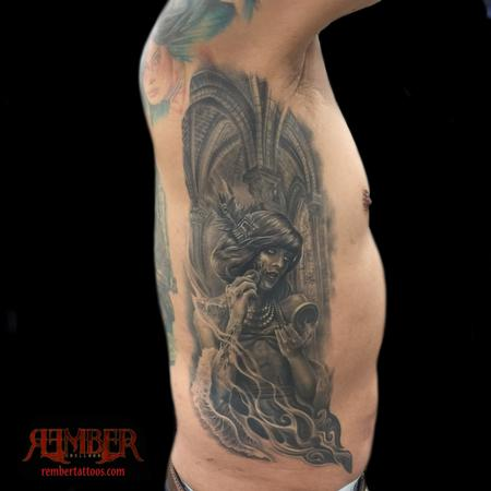 Rember - Surrealistic black and grey portrait on ribs