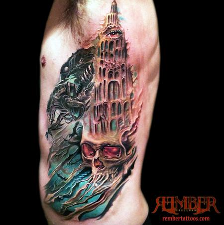 Tattoos gothic skull and castle 103992 for Gothic city tattoos