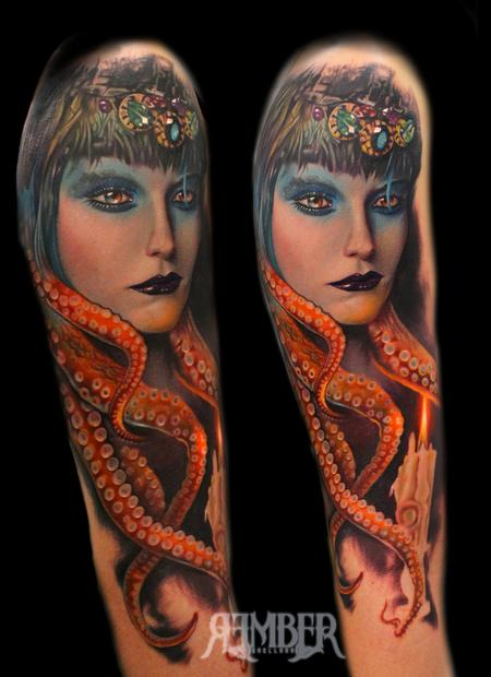 Rember, Dark Age Tattoo Studio - Octopus Woman, Dallas Texas