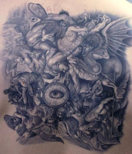 angels fighting demons by rember tattoos. Black Bedroom Furniture Sets. Home Design Ideas
