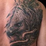 Black and Grey Realism Harpy Eagle Tattoo Design Thumbnail